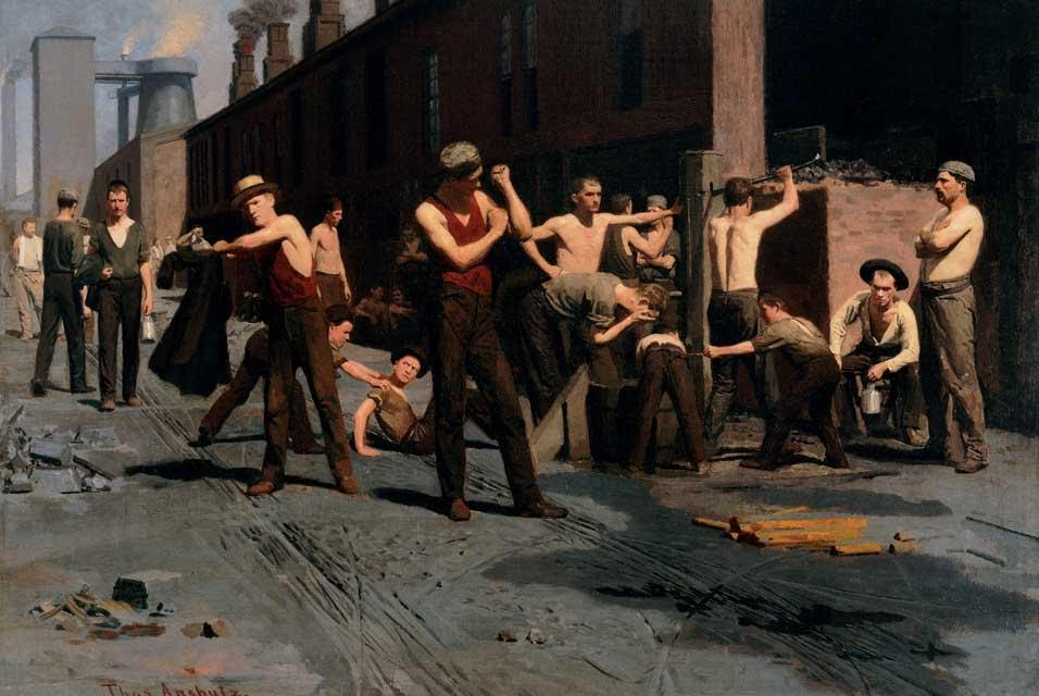 The Ironworkers noontime, Thomas Pollock Anshutz (1880)