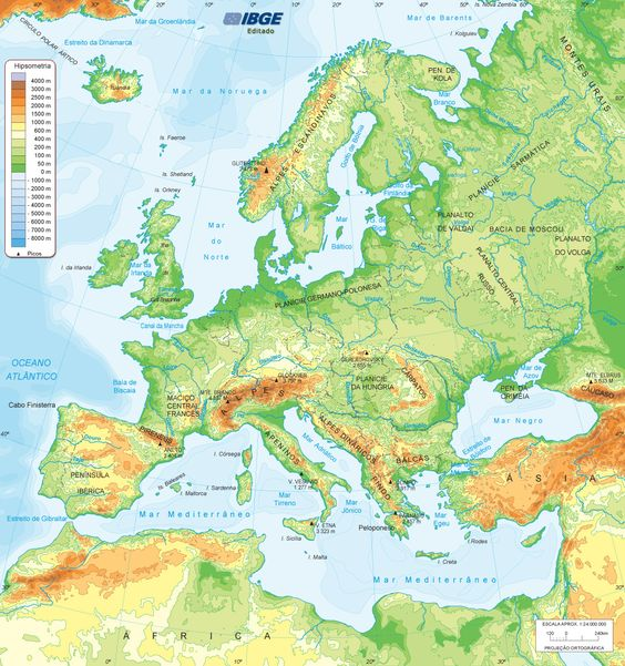 Mapa físico da Europa Fonte: IBGE