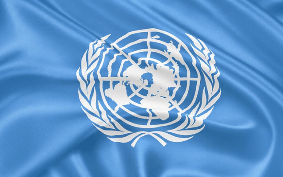 O símbolo da ONU é uma projeção azimutal, cujo centro escolhido foi um ponto no Polo Norte, um local neutro e que permite a visualização de todos os continentes.